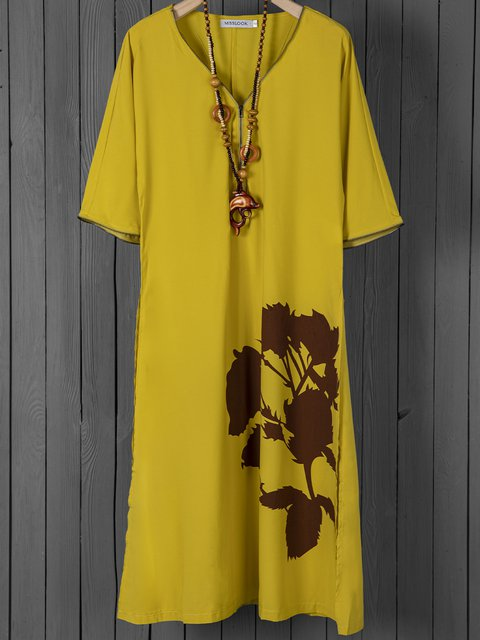 V Neck Yellow Women Dresses Daily Floral Dresses
