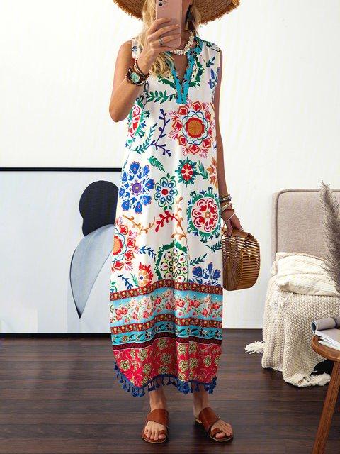 Plus Size Floral Print Vacation Women Summer Maxi Dresses