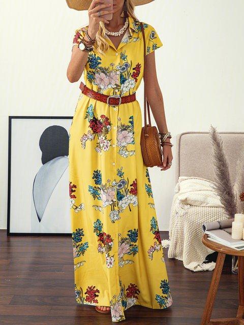 Shirt Collar Women Dresses Shift Daily Cotton-Blend Floral Dresses