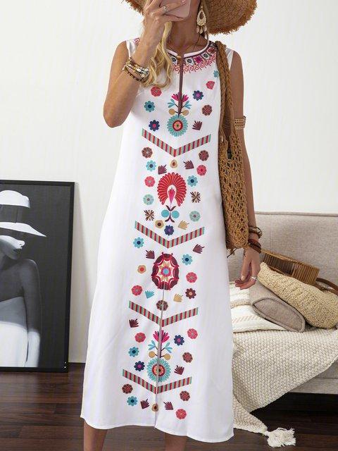 V Neck White Women Summer Dresses Shift Daily Floral Dresses