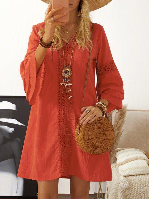 V Neck Women Dresses Shift Daily Cotton-Blend Paneled Dresses