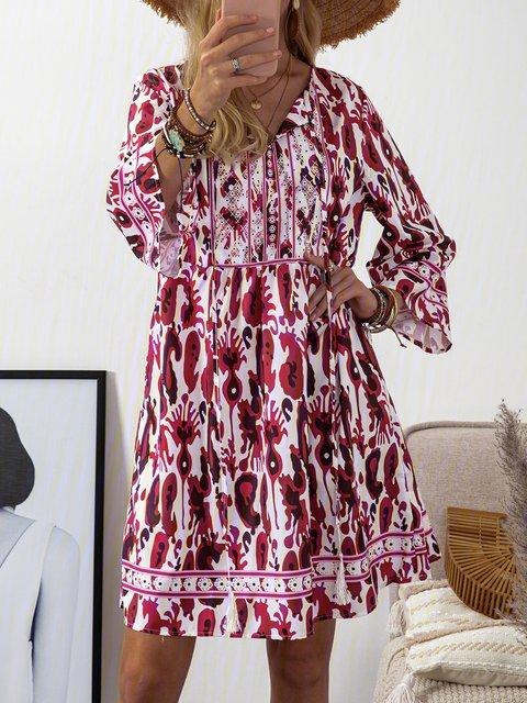 V Neck Women Dresses Daytime Boho Cotton Dresses