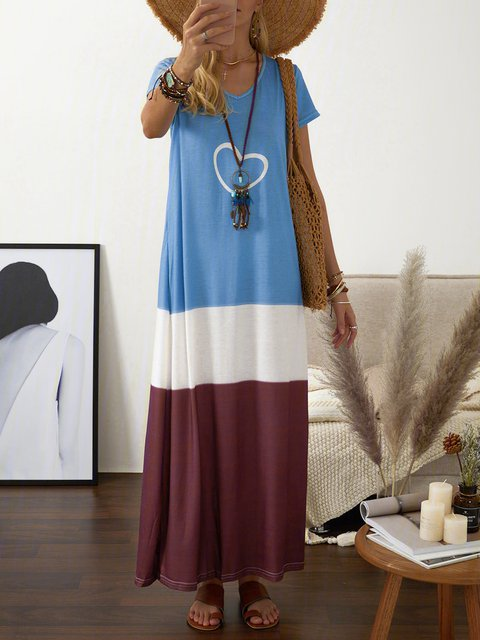V Neck Women Dresses Shift Daily Dresses