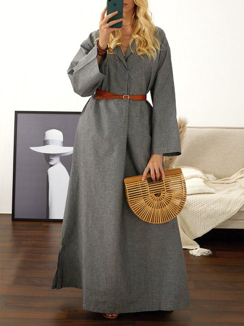 Shawl Collar  Shift Women Daily Long Sleeve Basic Solid Summer Dress