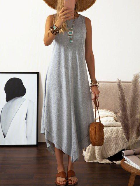 Asymmetrical Women Daily Casual Cotton Sleeveless Summer Dress