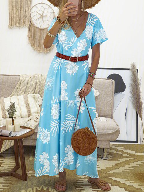 Women Floral Maxi Dresses V Neck Daily Printed Dresses