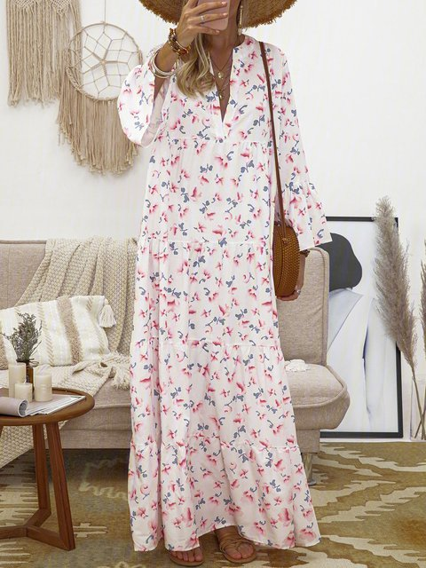 Floral Frill Sleeves V-Neck Paneled Maxi Dresses