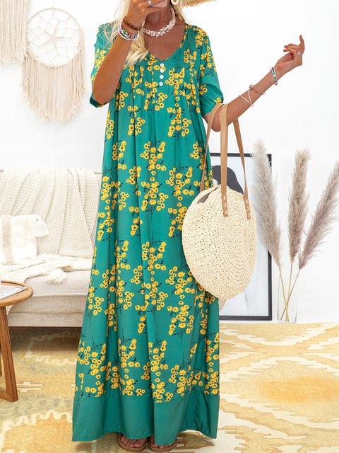 Women's Casual Floral-Print Shift Dresses