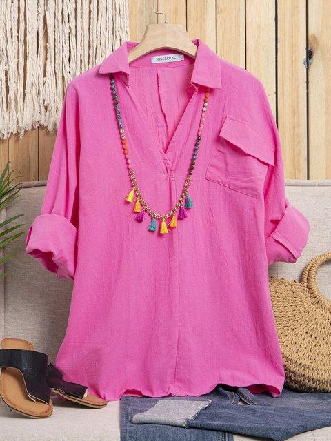 Shirt Collar Long Sleeve Solid Casual Shirts & Tops
