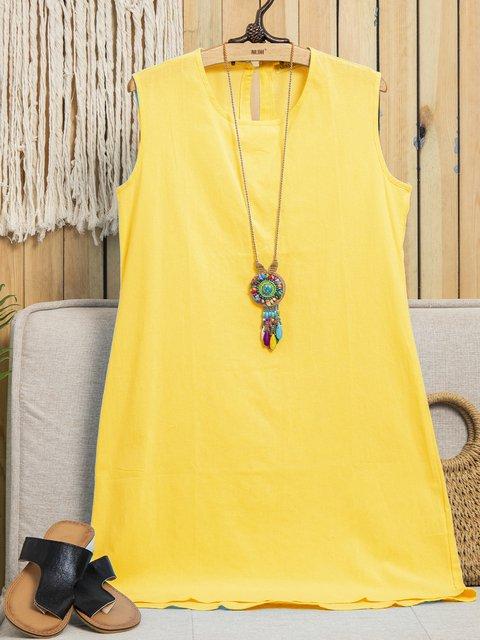 Women Summer Shift Sleeveless Midi Dresses Crew Neck Daily Plain Dresses