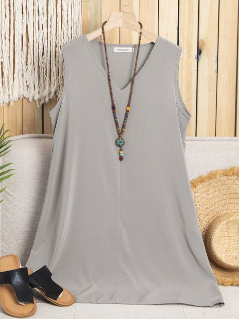 V neck Gray Sheath Women Daily Angora-blend Sleeveless Paneled  Summer Dress