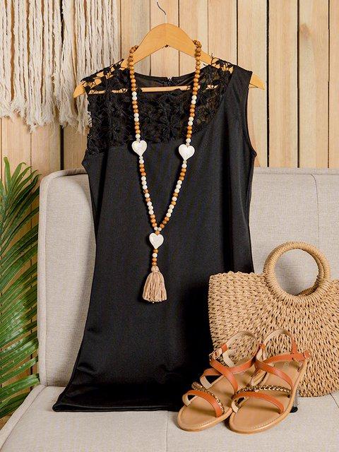 Black Bodycon Women Daily Elegant Sleeveless Paneled Floral Prom Dress