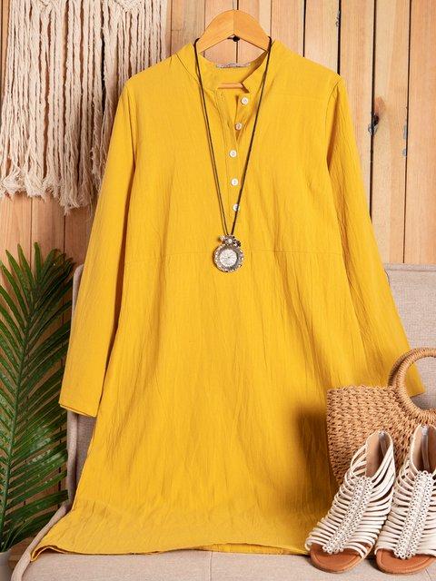 Women Spring Midi Dresses Crew Neck Shift Daily Casual Cotton Dresses