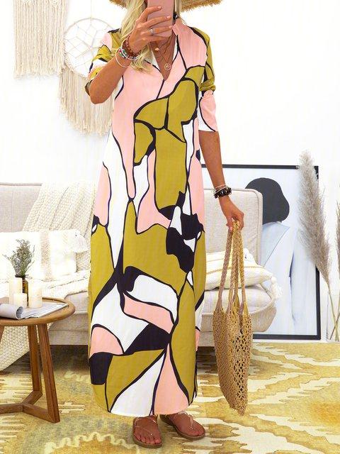 V Neck Women Spring Dresses Shift Date Linen Dresses