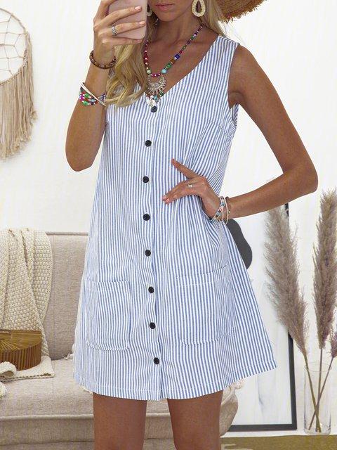 Printed Striped Buttoned Pockets Crew Neck Shift Boho Dresses
