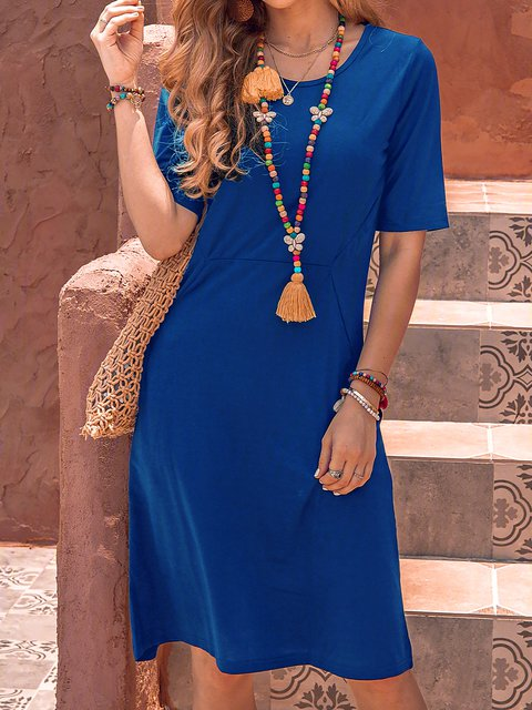 Solid Pockts Mini Dress Short Sleeve Dresses