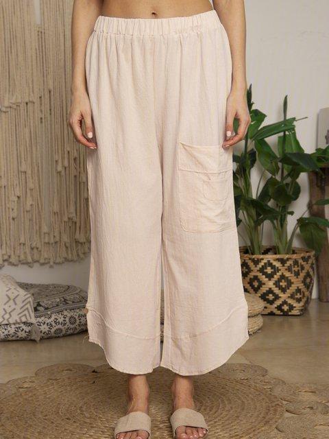 Summer Pockets Buttoned Elastic Waist Stylish Casual Capri Pants