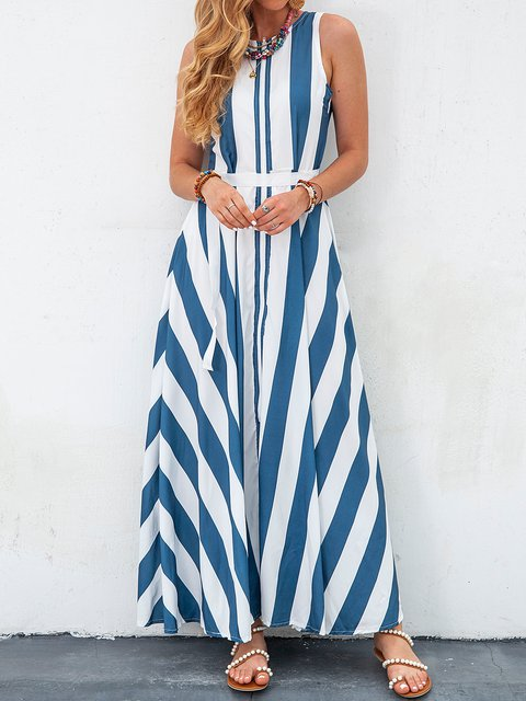 Color Block Sleeveless Stripes Vintage A Line Ladies Dresses