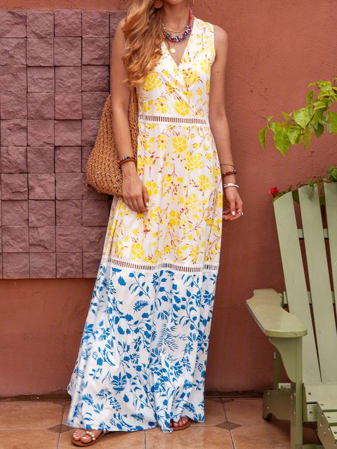 V Neck Yellow Women Summer Dresses Shift Daily Casual Floral Dresses
