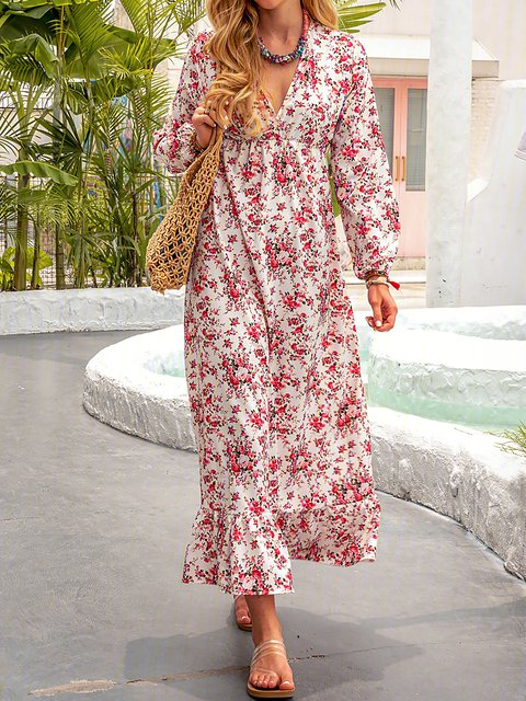 V neck Red Swing Women Daily Statement Long Sleeve Paneled Floral Dress