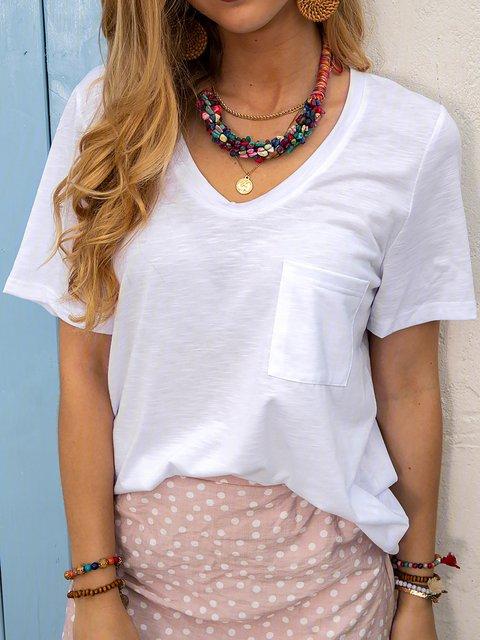 Women Summer Solid Tee Pocket Short Sleeve T Shirts