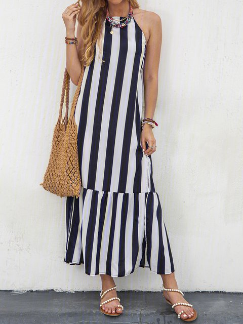 Halter Stripe Swing Women Sleeveless Casual Printed Summer Dress