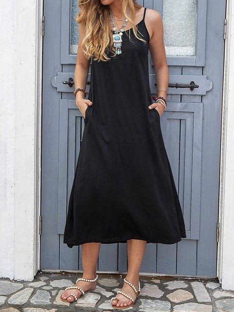 Women Daily Spaghetti Elegant Paneled  Summer Dress