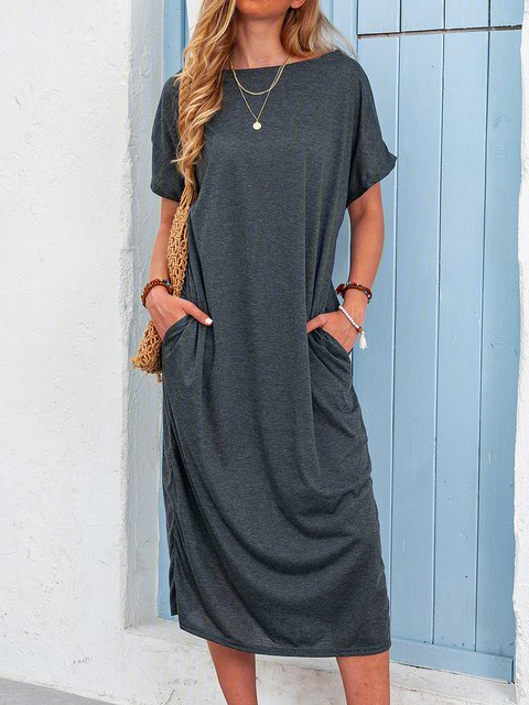 Shift Women Casual Cotton-blend Short Sleeve Asymmetric Summer Dress