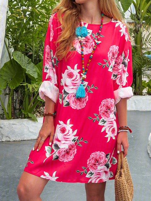 Crew Neck Fuchsia Women Dresses Cotton-Blend Floral Dresses