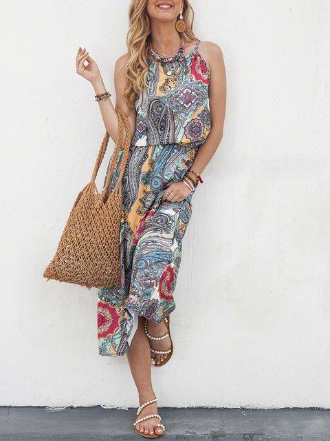 Halter Blue Swing Women Daily Linen Boho Printed Floral Dress