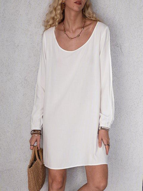 Solid Mini Dress Plus Size Long Sleeve Dresses
