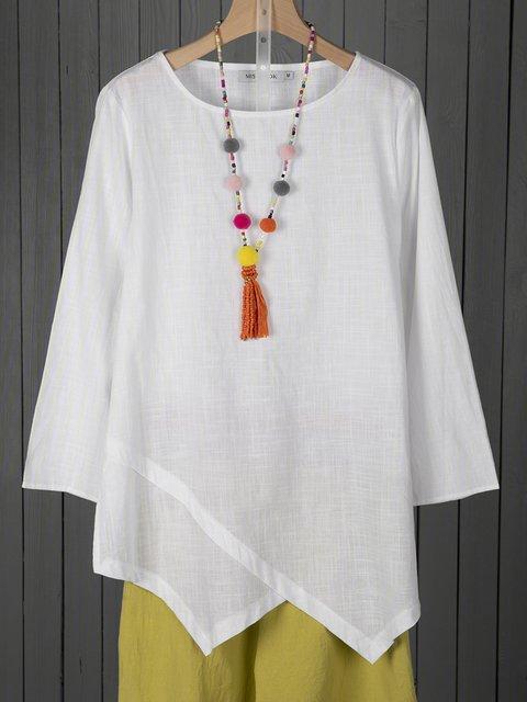 Plus Size Asymmetric Linen Women Tunic Blouses