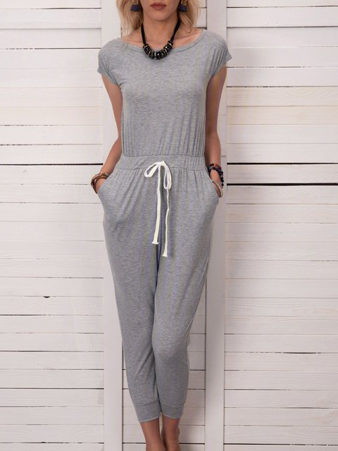 Fashion Lace Up Pocket Casual Vest Jumpsuit