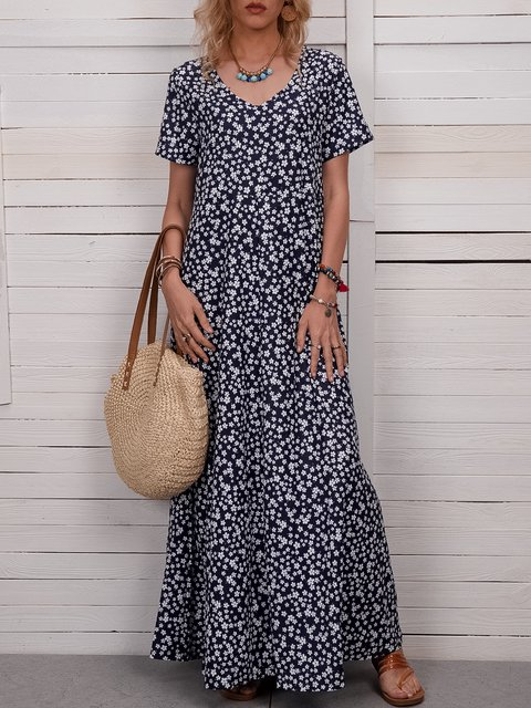 Floral Maxi Dress Plus Size Summer Printed Dresses
