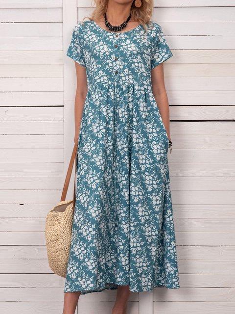 Women Floral Caftan Pockets Summer Dresses