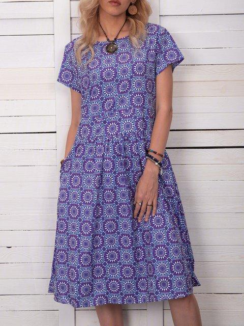 Women Printed Pockets Shift Casual Summer Dresses