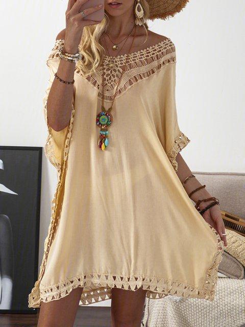 V neck  Women Daily Half Sleeve Basic Paneled Summer Dress