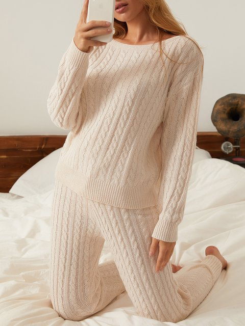 Khaki Crew Neck Long Sleeve Knitted Sweater