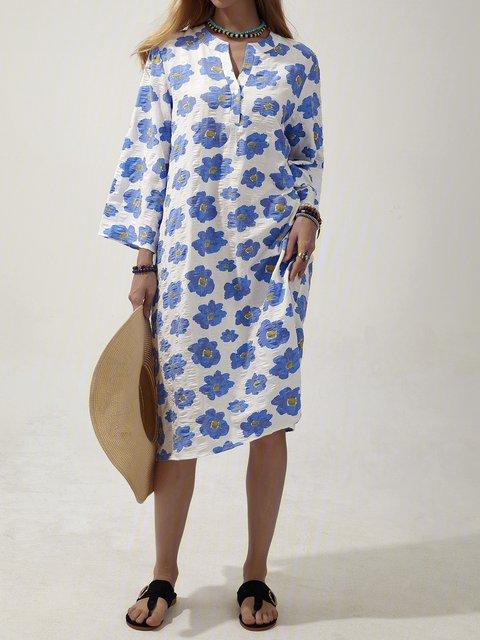 Purplish Blue V Neck Half Sleeve Floral Shift Dresses