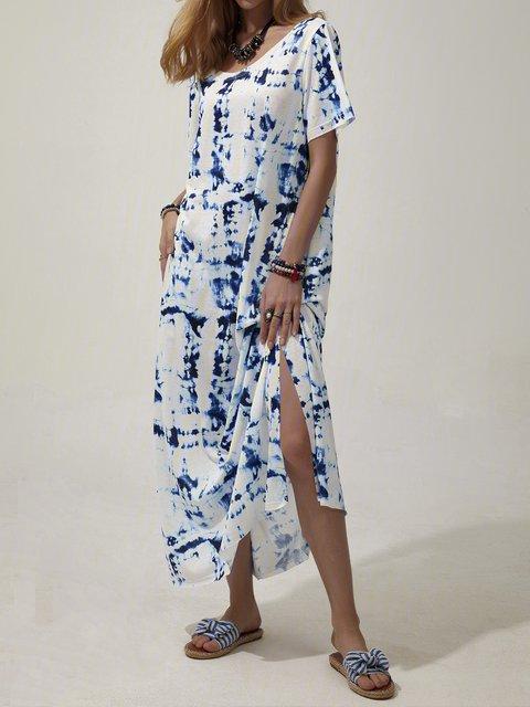 Blue Casual Shift Scoop Neckline Dresses