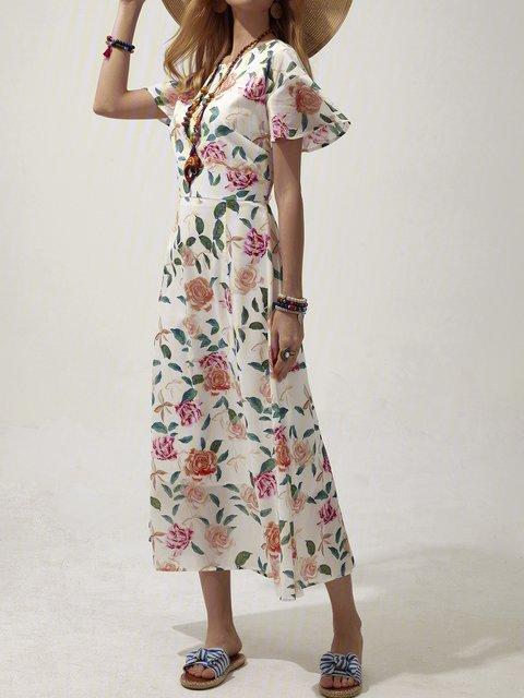 Lotus Floral Sleeve Floral Dress