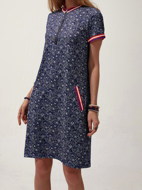 Stand Collar Short Sleeve Shift Floral Dresses