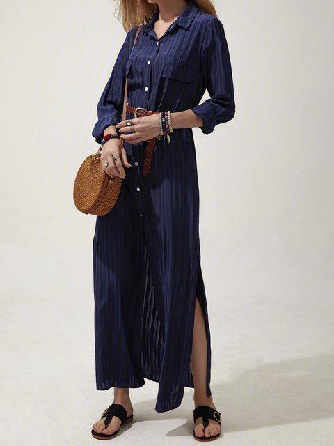Navy Blue Shift Long Sleeve Dresses