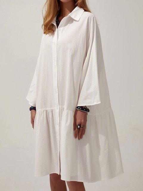 Solid Mini Shirt Dress Plus Size Long Sleeve Dresses