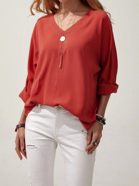 Red Plain Long Sleeve Shift V Neck Shirts & Tops
