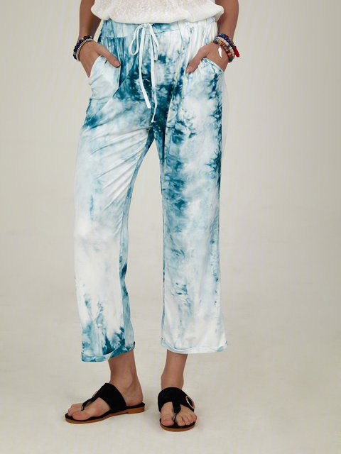 Green Dip-Dyed Cotton-Blend Ombre/tie-Dye Casual Pants