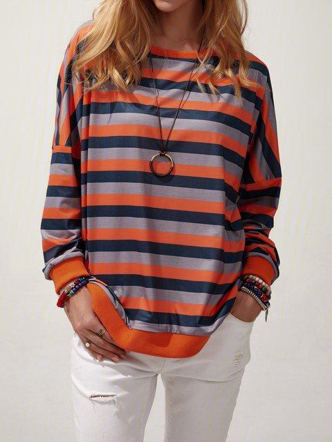Stripe Blouse Round Neck Long Sleeve Casual Sweatshirt
