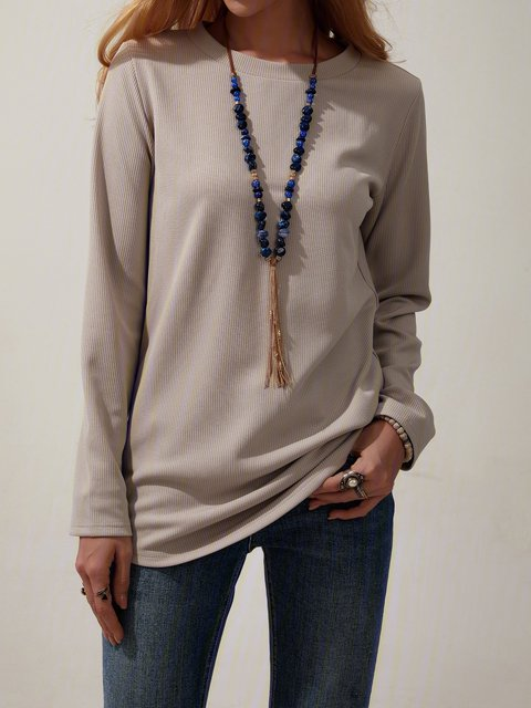 Solid Color Casual Long-sleeved Round Neck Tops