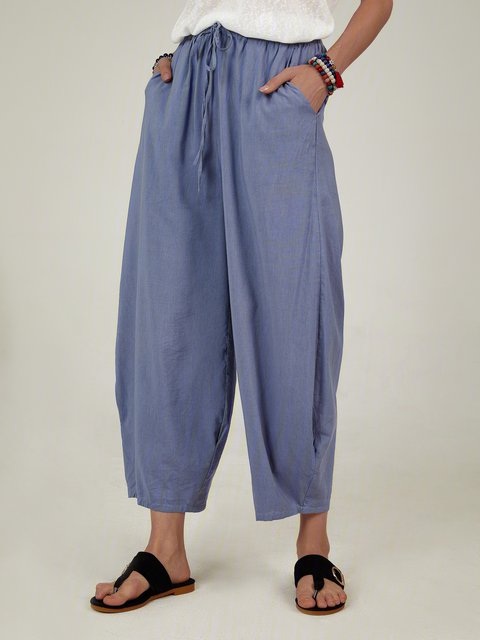Solid Color Elastic Waist Loose Pants