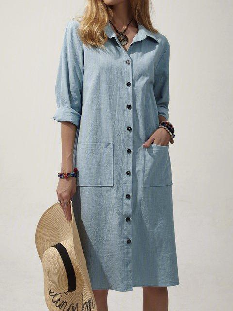 Casual Turn-down Collar Front Pockets Shirt Dress